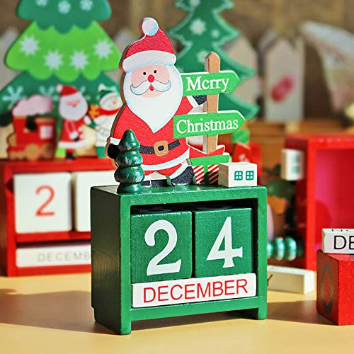 Christmas Advent Wooden Desktop Perpetual Calendar Blocks Gift for Home Office Decoration DIY Yearly Planner Date Wood Craft Santa Claus Snowman Elk Festival Calendar Countdown 2019 (Santa Claus)