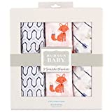 """Hudson Baby """"Sweet Fox"""" 3-Pack Swaddle Blankets - blue, one size"""