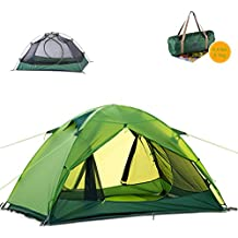 Naturehike Ultralight 2 Person 3 Season Backpacking Tent for Camping, Silicone Coated Lightweight Waterproof Two Doors Double Layer Anti-UV with Aluminum Rods for Outdoor Family Beach Hunting Hiking