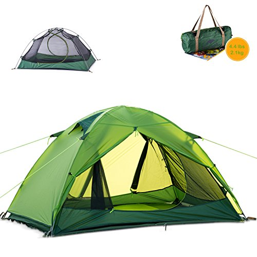 Cheap Naturehike Ultralight 2 Person 3 Season Backpacking Tent for Camping, Silicone Coated Lightweight Waterproof Two Doors Double Layer Anti-UV with Aluminum Rods for Outdoor Family Beach Hunting (Green)