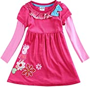 Little Girl's Clothes Cartoon Flowers Embroidered Dresses Pants Sets for Girls 1-9 Y