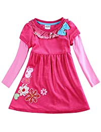 Little Girl's Clothes Cartoon Flowers Embroidered Dresses Pants Sets for Girls 1-9 Years