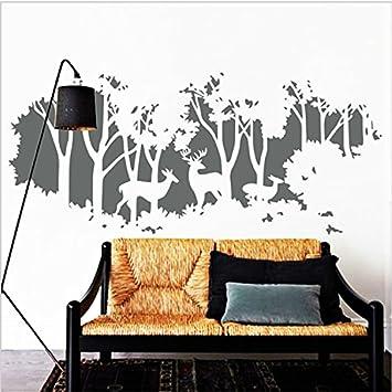 Yanqiao Wandtattoo Für Wohnzimmer Dekoration, Hirsche Im Wald,  Wiederablösbares Vinyl, Aufkleber,