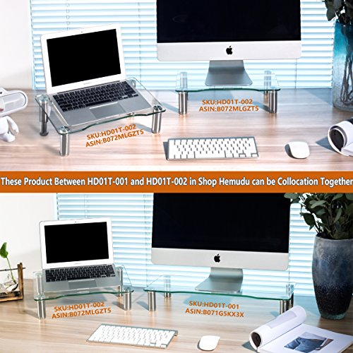 Clear Tempered Glass Computer Monitor Riser with Height Adjustable Multi Media Desktop Stand for Flat Screen LCD LED TV, Laptop/Notebook/Xbox One,HD01T-002 by Hemudu (Image #5)'
