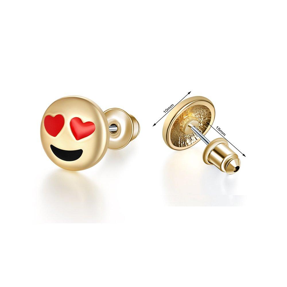 4pcs Cute Smile Heart Emoji Faces Charms Stud Earrings Set