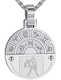 "Stainless Steel Zodiac Horoscope Sign Pendant Necklace, Unisex, 21"" Chain"