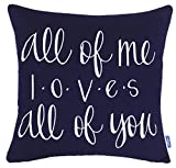 ADecor Pillow Covers All of me Loves All of You Pillowcase Embroidered Pillow cover Decorative Pillow Standard Cushion Cover Gift Love Couple Wedding (18X18, Navy)