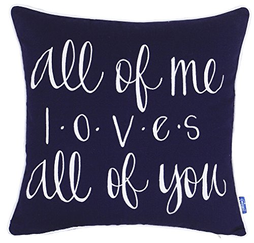 ADecor Pillow Covers All of me Loves All of You Pillowcase Embroidered Pillow cover Decorative Pillow Standard Cushion Cover Gift Love Couple Wedding (18X18, - Ideas Day Date V