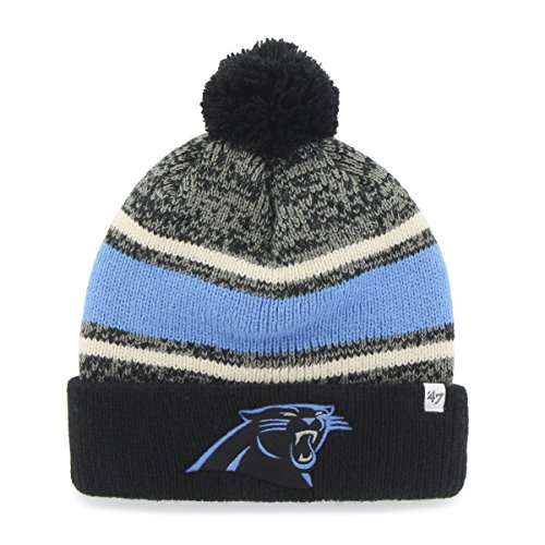 NFL Carolina Panthers '47 Fairfax Cuff Knit Hat with Pom, One Size Fits Most, Black