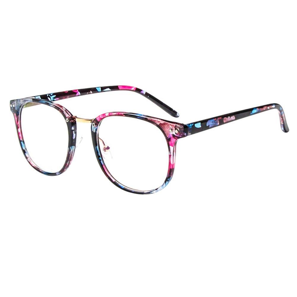 Forepin® Montura para Gafas de Vista Hombre y Mujer Antiguas Grandes Vintage Visión Clara Glasses Cr...