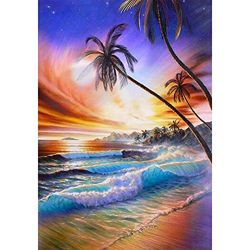 Softmusic Landscape Sea Beach Sunset Glow Full Diamond Painting for Living Room Wall Decor D187