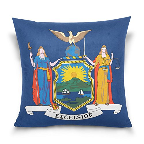 Donnapink Throw Pillow Case New York Flag American USA State Flag Square Zippered Cushion Cover 18
