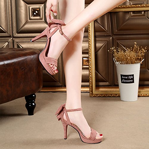 Xing Lin Zapatos De Verano Para Las Mujeres Cuñas Fina Con Alto Talón Zapatos Impermeables Verano Nuevo Taiwán Ranurados Para El Rocío-Toe Sandalias Zapatos De Mujer Moderna Discoteca Marea Pink with high 12cm