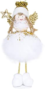 B-CREATOR Angel Ornaments with Elf Wings Christmas Ornament Tree Decoration Xmas Home Desk Decor-Stand Doll