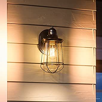 "Luxury Vintage Outdoor Wall Light, Small Size: 11.25""H x 6.25""W, with Nautical Style Elements, Cage Design, Estate Bronze Finish and Seeded Glass, Includes Edison Bulb, UQL1120 by Urban Ambiance"