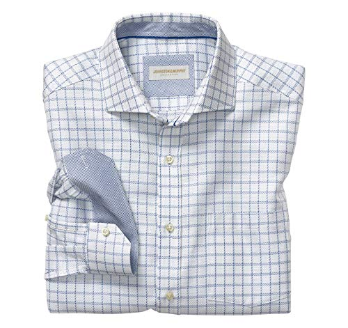 (Johnston & Murphy Men's Italian Dash Windowpane Dress Shirt White/Blue L US)