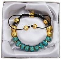 Lova Jewelry Lux Spiritual Sparkle Adjustable Shamballa Aqua Marine Crystal Pave Bracelet