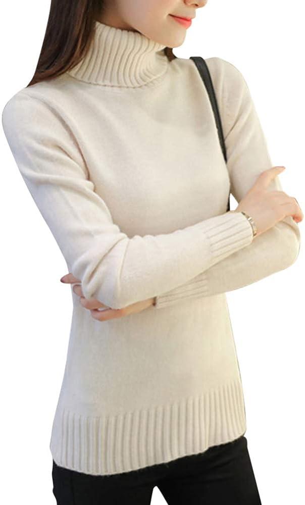 Mujer Suéter De Cuello Alto Cálido Cómodo Jersey De Punto Pullover Color Sólido Beige L: Amazon.es: Ropa y accesorios