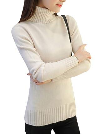 new concept 071bc fcd8b ShiFan Maglione Dolcevita Donna Eleganti Comodo Morbidi Maglieria Pullover  Tinta Unita A Collo Alto Maglioni