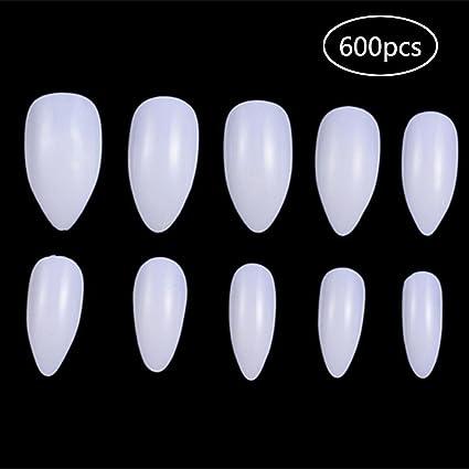 600 piezas de uñas ovaladas, acrílico leegoal, uñas postizas transparentes, puntas de uñas