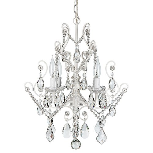 (Theresa White Crystal Chandelier, Mini Plug-In Swag Glass Pendant 4 Light Wrought Iron Ceiling Lighting Fixture)