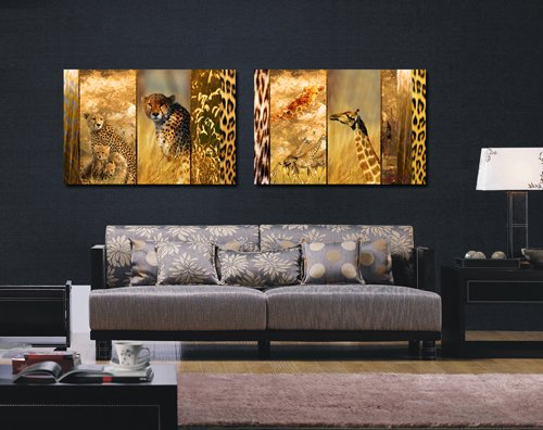 Espritte Art-Huge Canvas Print Wall Art Leopard and Giraffe Pictures Modern Home Decoration Painting set of 2 Each is 40*60cm, Stretched and Framed, Ready to Hang #CY-214 (Baby Leopard Pictures)