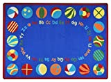 Joy Carpets Kid Essentials Early Childhood Oval Bouncy Balls Rug, Multicolored, 5'4'' x 7'8''