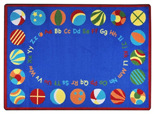 Joy Carpets Kid Essentials Early Childhood Oval Bouncy Balls Rug, Multicolored, 5'4'' x 7'8'' by Joy Carpets