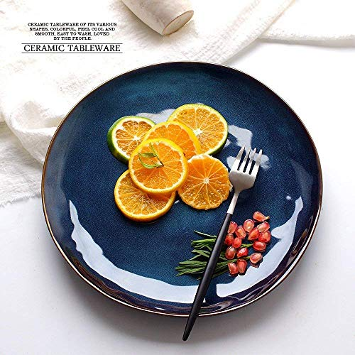 Canju Kitchen/Tableware/for Home Outdoor Camping Creative Blue Large Ceramic Steak Pasta Sushi Plates Individuality Fruit Salad Breakfast Dishes Irregular Shape Home Restaurant Dishware 10-Inch