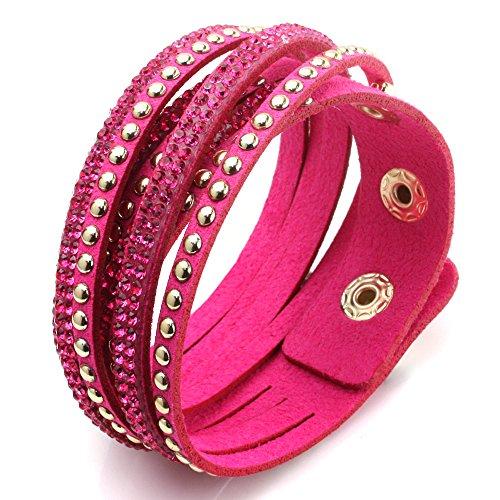 JewelrieShop Bling Bling Crystal Rhinestones Soft Comfortable Velvet, Adjustable Size Button Clasps Bracelet