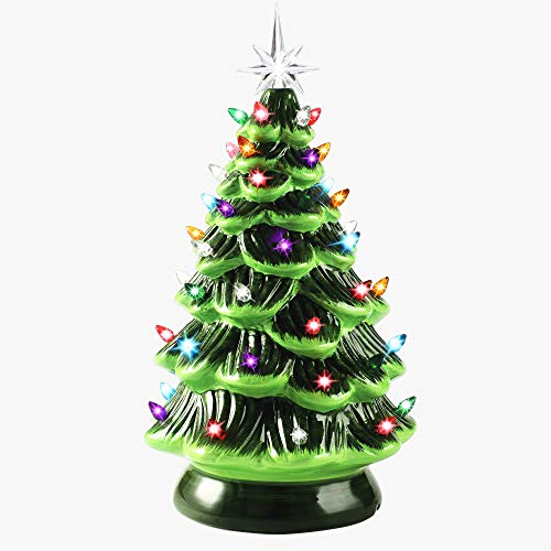 Joiedomi 15' Tabletop Prelit Ceramic Christmas Tree with Multicolor Bulbs, Christmas Decorations