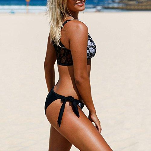 iBaste 2017 Nuevo Mujer Atractiva Moda Conjunto Bikini Costura de Encaje Traje de Baño Split