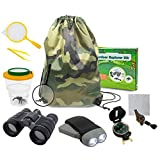 edola Kids Outdoor Toys Gifts Toys, 3-10 Years Old Boys Childrens Kids Outdoor Adventure Exploration Set incl Binoculars,Flashlight, Compass,Whistle,Magnifying Glass,Tweezer,Bug Viewer,Backpack