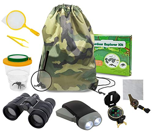 (edola Outdoor Explorer Kit Gifts Toys, 3-10 Years Old Boys Childrens Kids Outdoor Adventure Exploration Set incl Binoculars,Flashlight, Compass,Whistle,Magnifying Glass,Tweezer,Bug Viewer,Backpack)