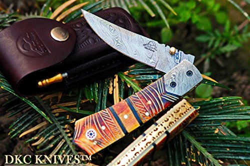 DKC Knives (121 5/18) DKC-136 Chief Damascus Steel Folding Pocket Knife 4.5
