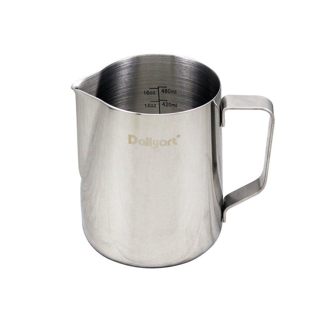 milk pitcher dailyart mlfloz stainless steel milk cup  - milk pitcher dailyart mlfloz stainless steel milk cup milkfrothing pitcher milk jug amazoncouk kitchen  home