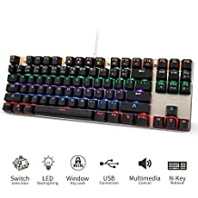 Teamwolf Mechanical Gaming Keyboard Blue Switches,USB Wired PC Keyboards with 6 Colors Rainbow Led Backlit for Computer Mac,87 Keys (Black)