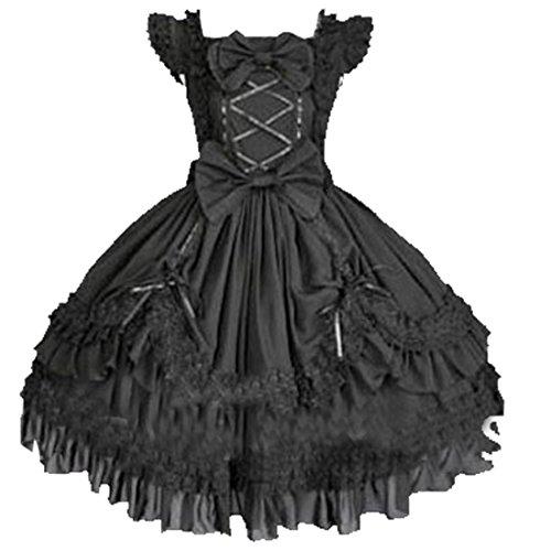 Partiss Women Multi Layers Sleeveless Black Gothic Lolita Dress With Bow Knot, L, Black Cap Sleeve Sleeves Lolita Dress