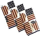 Designer Printed Decorative Everyday Kitchen Dish Towel Set of 3 Cotton Blend (Patriotic Apple)
