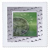 3dRose qs_203322_1 Clocks on Green Ocean on Graduation Cap Background Quilt Square, 10 by 10""