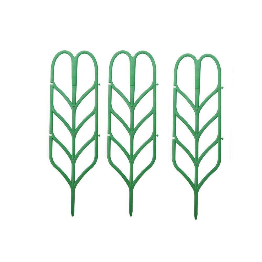 Mokylor Garden Trellis for Mini Climbing Plant Pot Support Miniature Leaf Trellis 4 W x 14 H, 3 Pack, Green