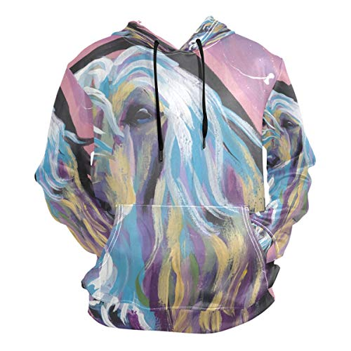 Unisex 3D Afghan Hound Print Hoodies Sweatshirts Long-Sleeved Pullover with Pocket XL