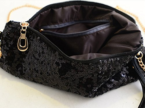kingken Luxus Pailletten Umschlag Party Abend Clutch Handtasche Handtasche für Damen (schwarz)