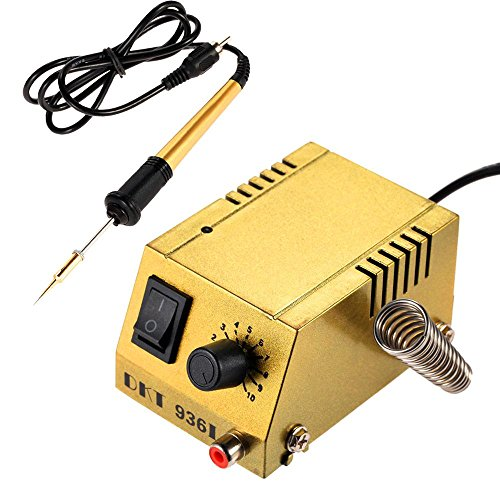KOBWA Portable Soldering Station, Mini Soldering Station Fast Heating Long Life Heater Solder Iron Welding Equipment Solder Station for SMD SMT DIP Soldering (Portable Variable Transformer)