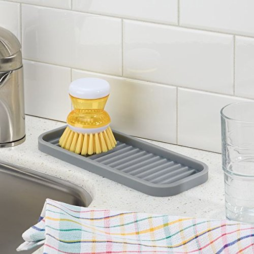 mDesign Silicone Kitchen Sink Tray for Sponges, Scrubbers, Soap - Gray