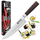 Okami Knives CHEF KNIFE 8' Japanese Damascus Stainless Steel, High Carbon Sharp Kitchen Cutlery, Light & Ergonomic Gyuto