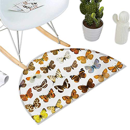 Butterfly Semicircular Cushion Butterfly Miracle Wings Joy Freedom Spiritual Feminine Divine Sign Concept Art Bathroom Mat H 23.6