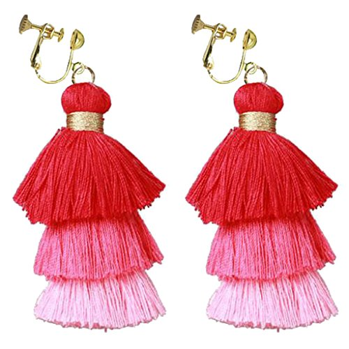 Bohemian 3 Color Three Layer Silk Fringe Thread Clip on Earrings Prom Bar for Girls Women Dress Up Red