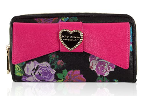 Betsey Johnson Boxed Rose Quilted Large Bow Pocket Flap Zip Around Continental Wallet - Multi Black Pink (Heart Quilted Box)