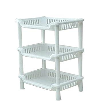 Sronjn Etagères Support Rangement Stockage 3 Tablettes Plastique Salle de  Bain Cuisines Blanc(34*26.5*18.5 cm)